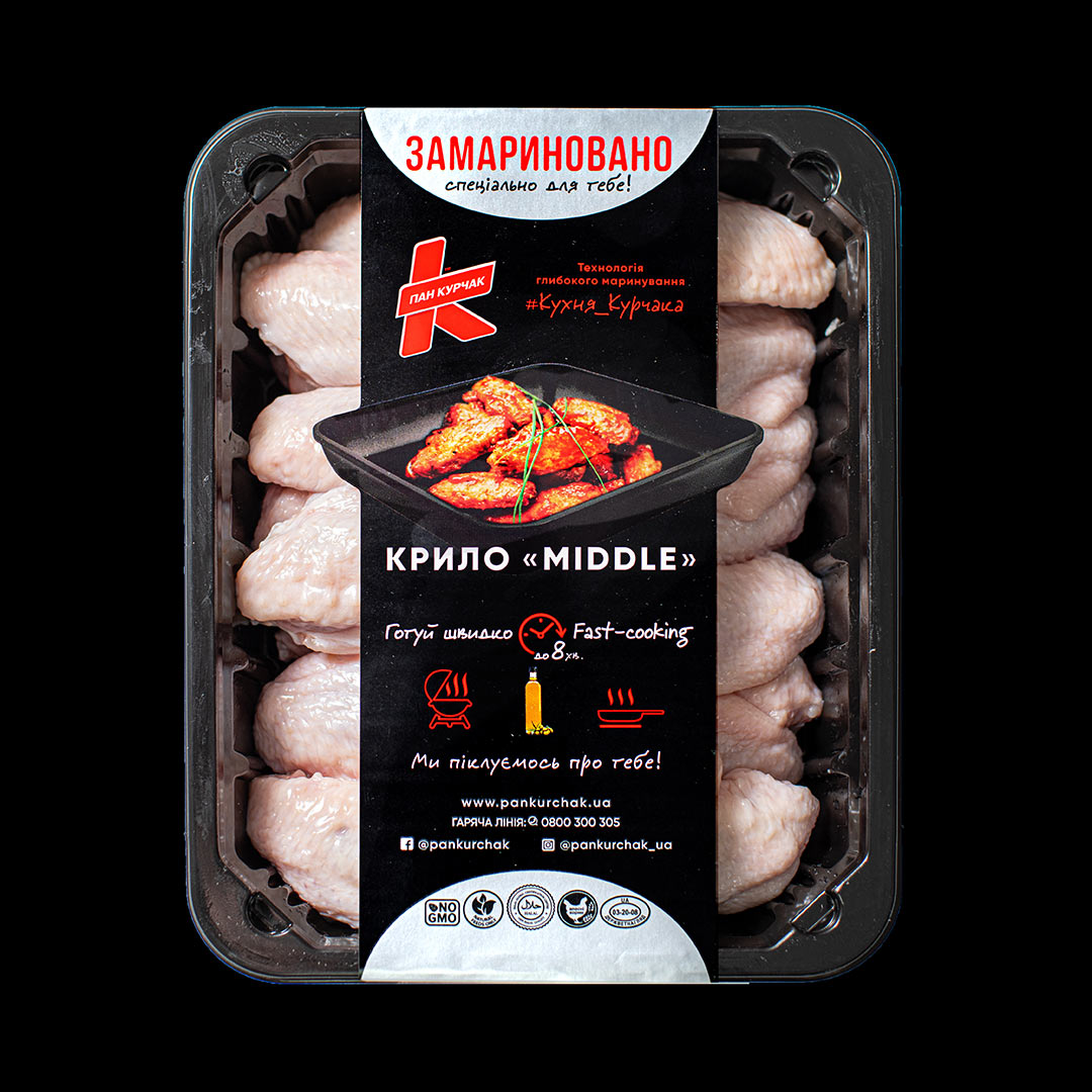 Купити крило Midle — замариноване оптом, Пан Курчак лоток, chickenpackaging